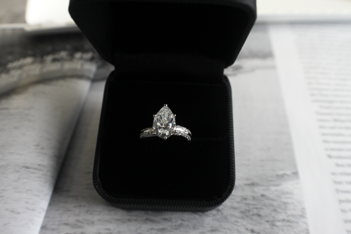 Pear shaped custom pave engagement ring