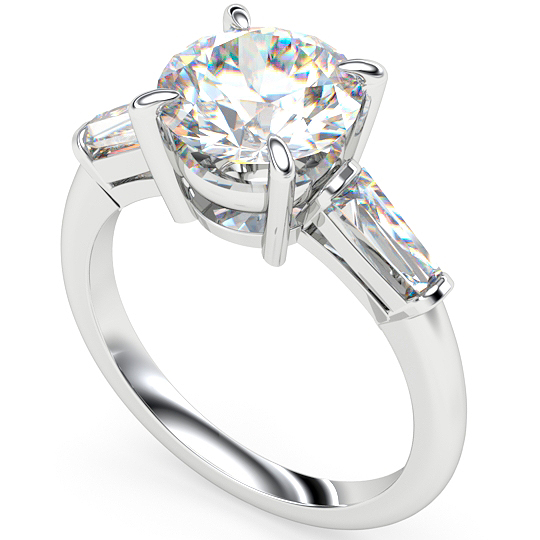 round diamond tapered baguette trilogy engagement ring