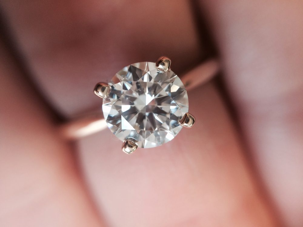 rose gold four claw solitaire engagement ring