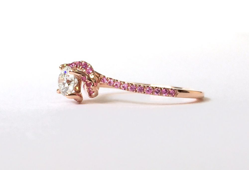 rose gold engagement ring with pink sapphires