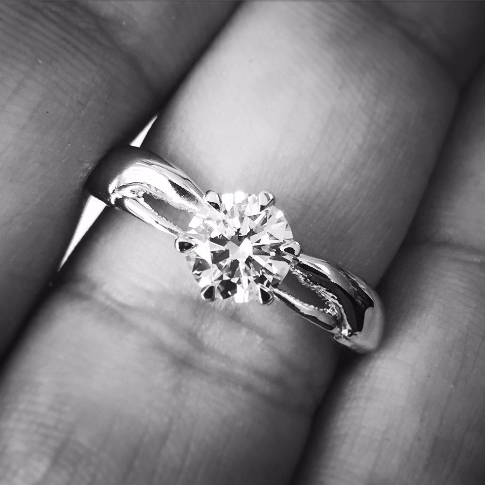 lobster inspired platinum engagement ring