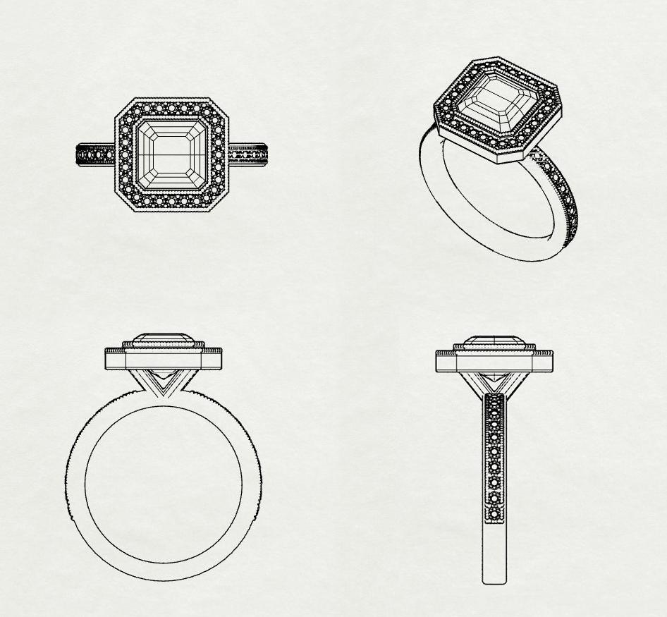 art-deco engagement ring sketch