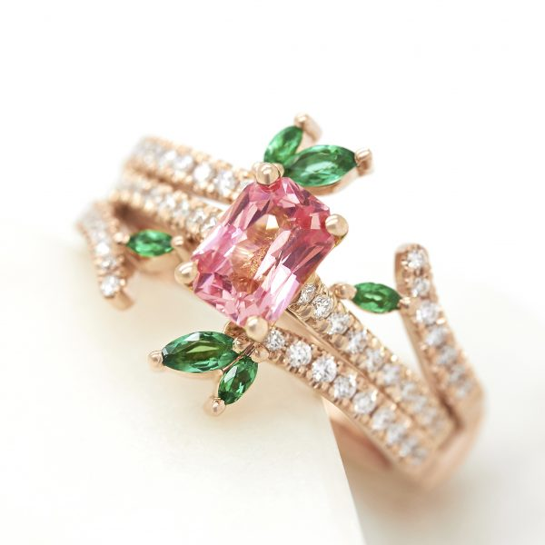 radiant padparadscha sapphire engagement ring matching diamond pave wedding band marquise emeralds