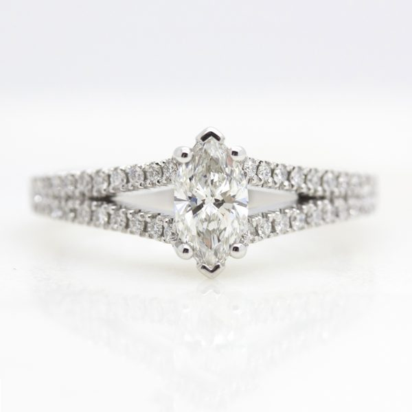 marquise diamond with pave diamond split shank engagement ring