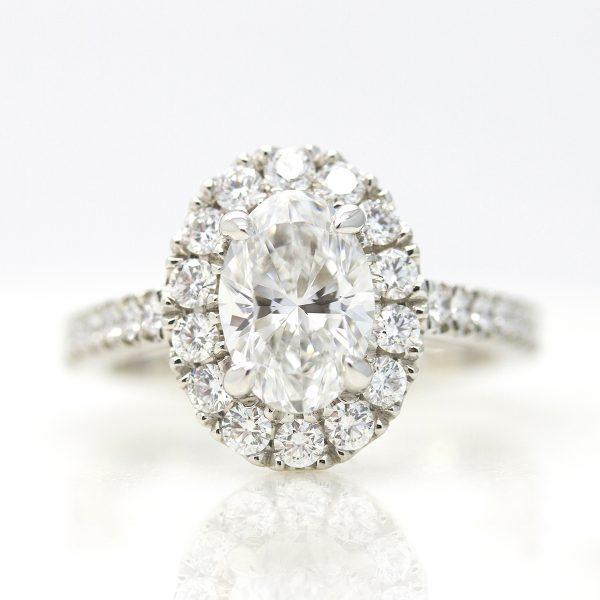 oval diamond with diamond halo and pave diamond band