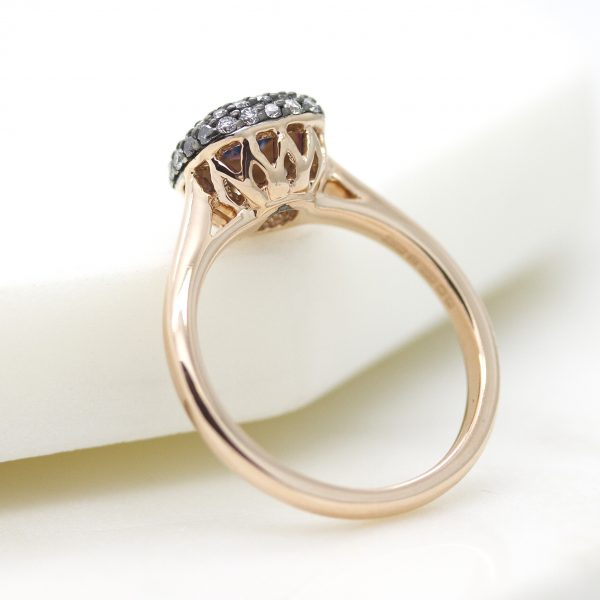 rose gold engagement ring with filigree cut outs