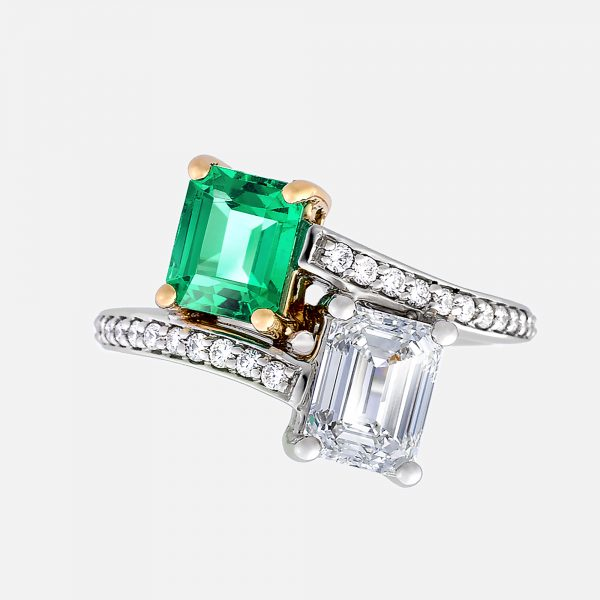 emerald and diamond emerald cut moi et toi ring with bead set pave band