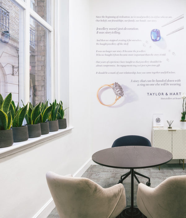 Taylor and hart bank city showroom consultation room
