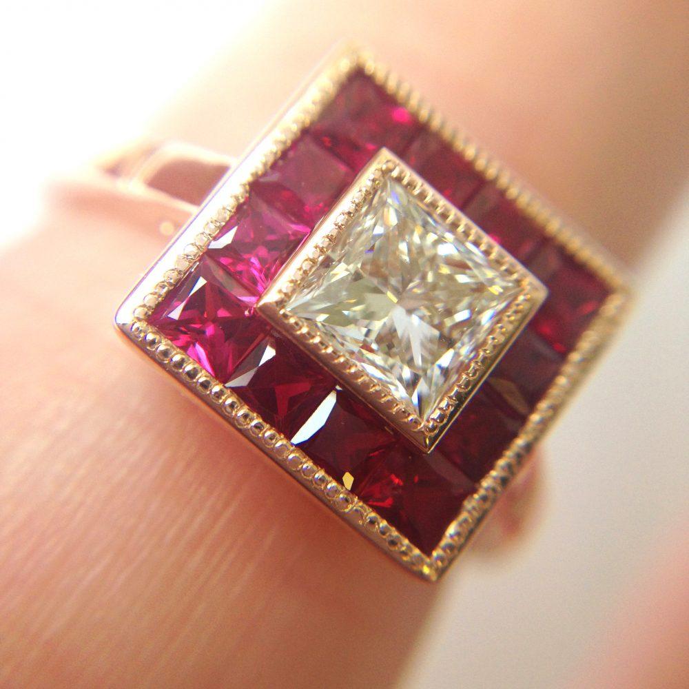 princess cut diamond with princess cut ruby halo milgrain rose gold engagement ring