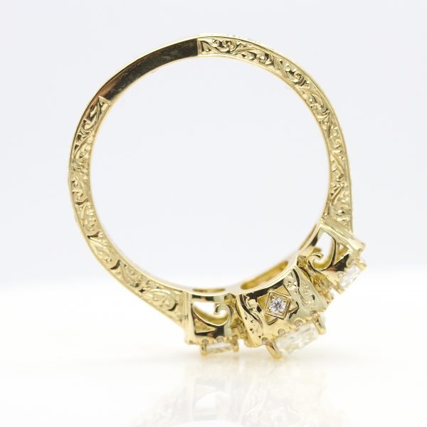 yellow gold engagement ring with filigree and hand engraving2