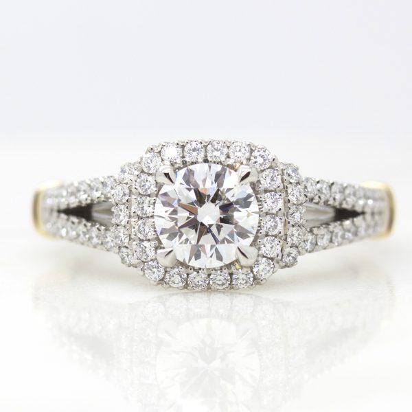 round diamond halo engagement ring with split shank