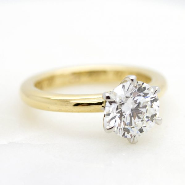 round diamond yellow gold solitaire engagement ring