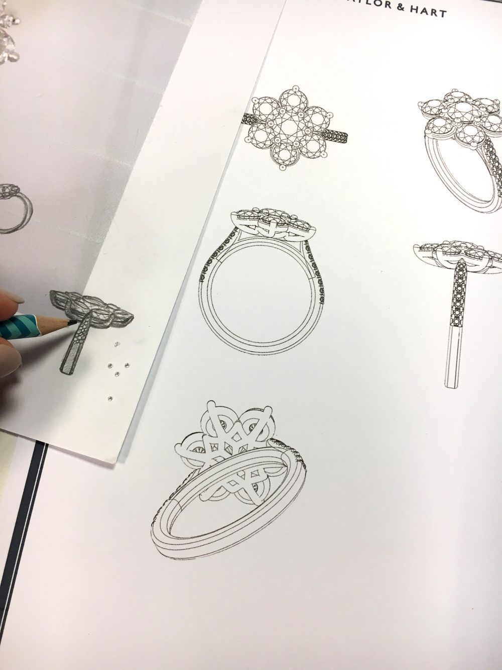 sketches of diamond cluster engagement ring