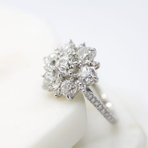 old european cut diamond cluster engagement ring