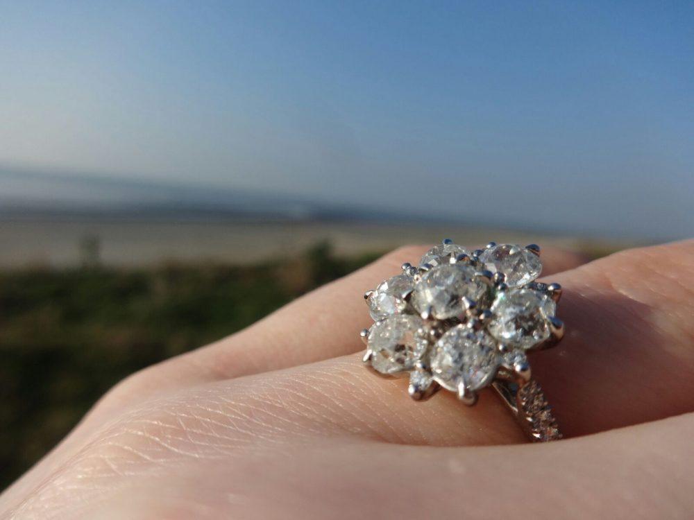 old european diamond cluster engagement ring