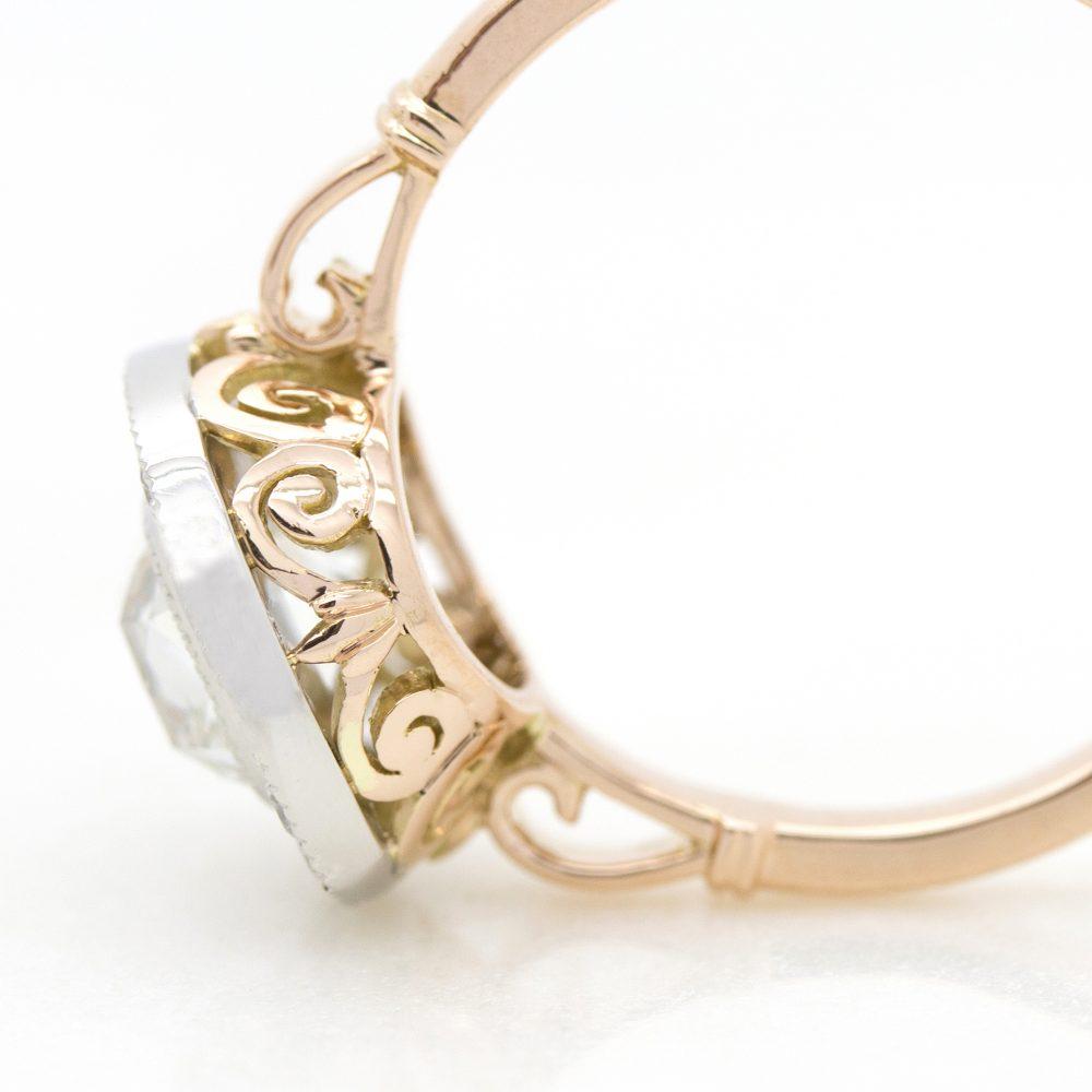 filigree engagement ring set in rose gold2