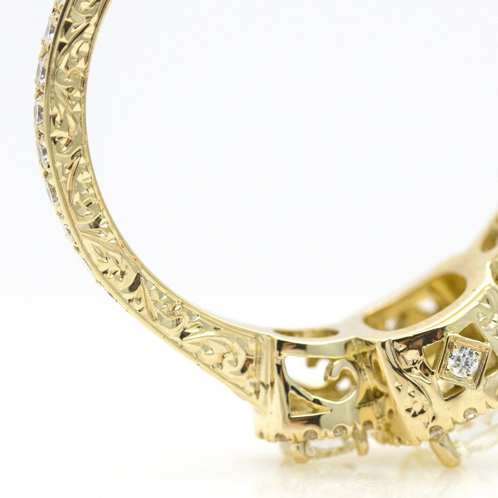 engagement ring with filigree and hand engraving detail2