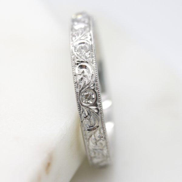 Hand Carved Wedding 4mm Nature Inspired Wedding Band Organic Wedding Band Tree Bark Band Leaf Wedding Band Women/'s Silver Wedding Ring