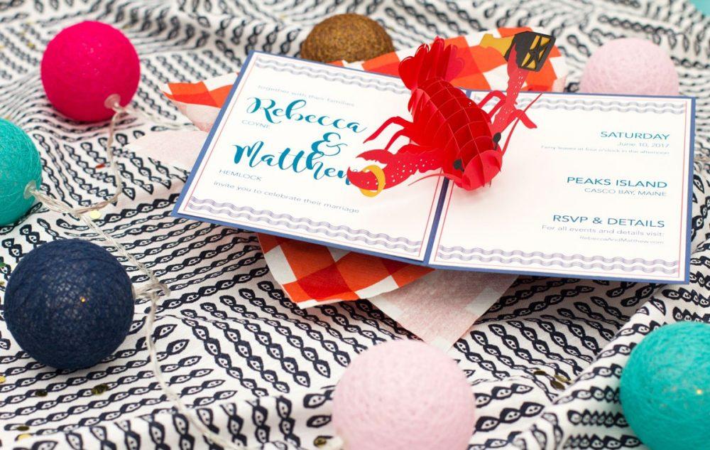 lovepop lobster wedding invitations