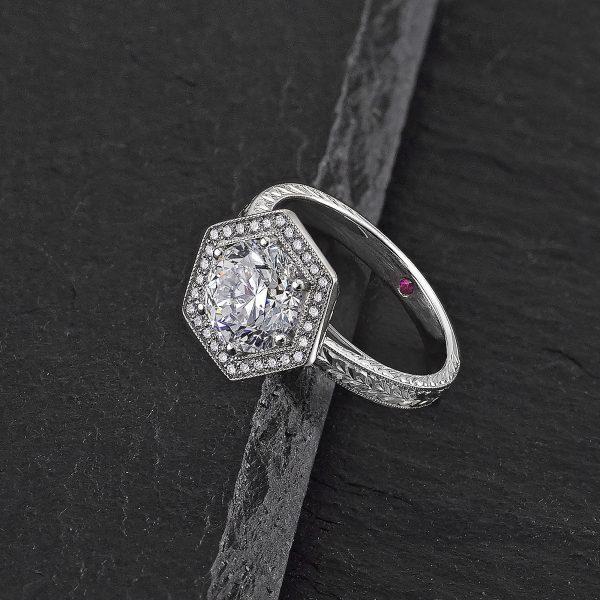 hexagon halo round diamond engagement ring