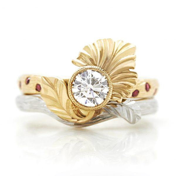 organic leaf engagement rings