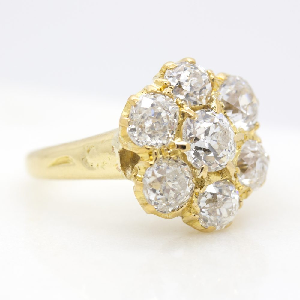 old european cut diamond cluster ring