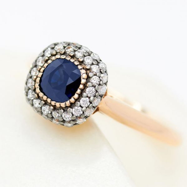 cushion cut blue sapphire rose gold engagement ring double diamond rhodium plated halo milgrain