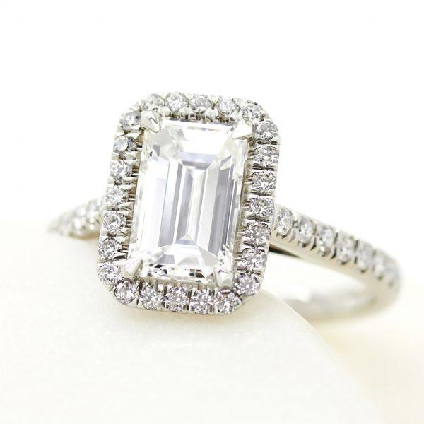 emerald cut diamond platinum halo engagement ring