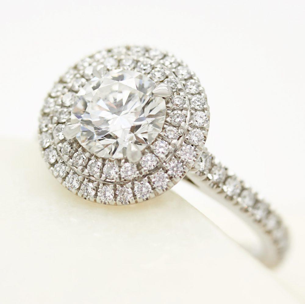platinum double round diamond halo engagement ring