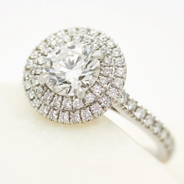 platinum double round diamond halo engagement ring