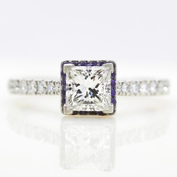 princess diamond with purple sapphire halo engagement ring