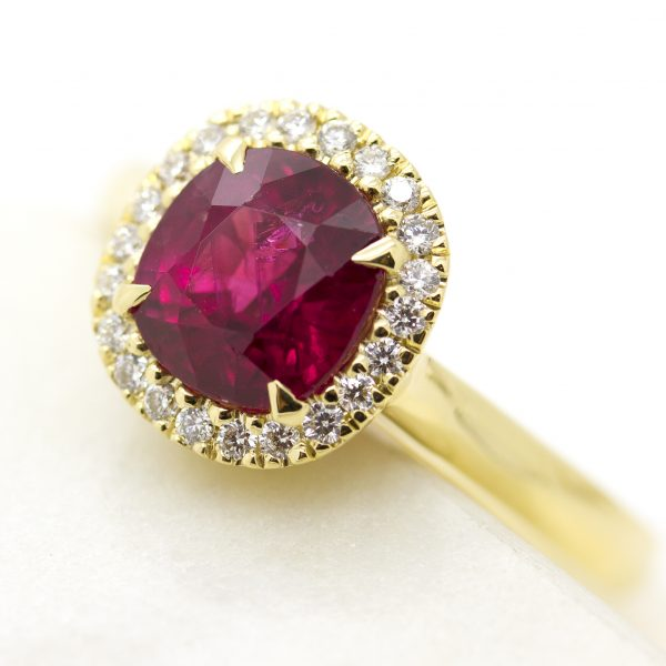 cushion cut ruby with diamond halo yellow gold engagement ring