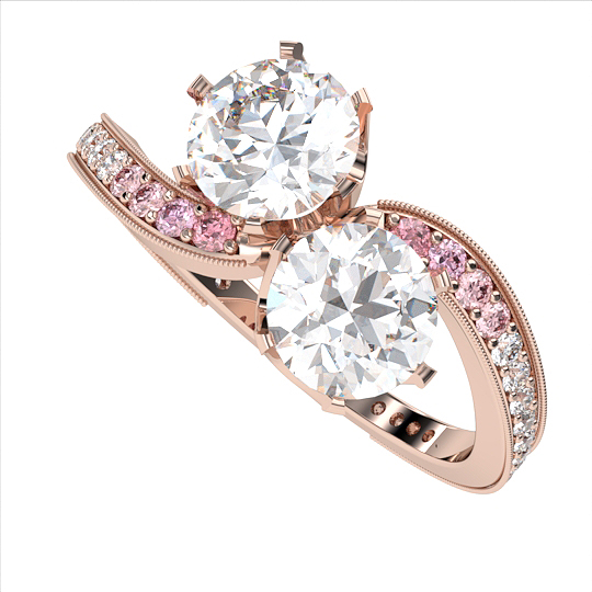 moi et toi with pink diamonds bespoke engagement ring