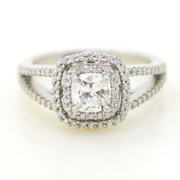cushion cut diamond with double diamond halo and split shank