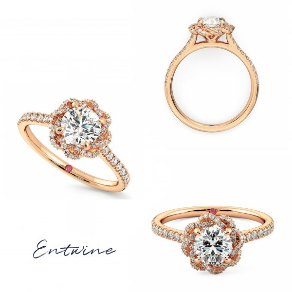 rose gold entwine taylor and hart twisted diamond halo engagement ring