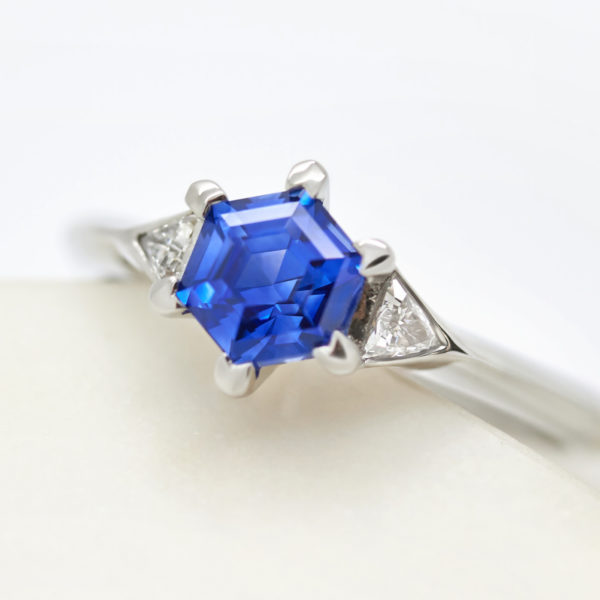 hexagon blue sapphire engagement ring