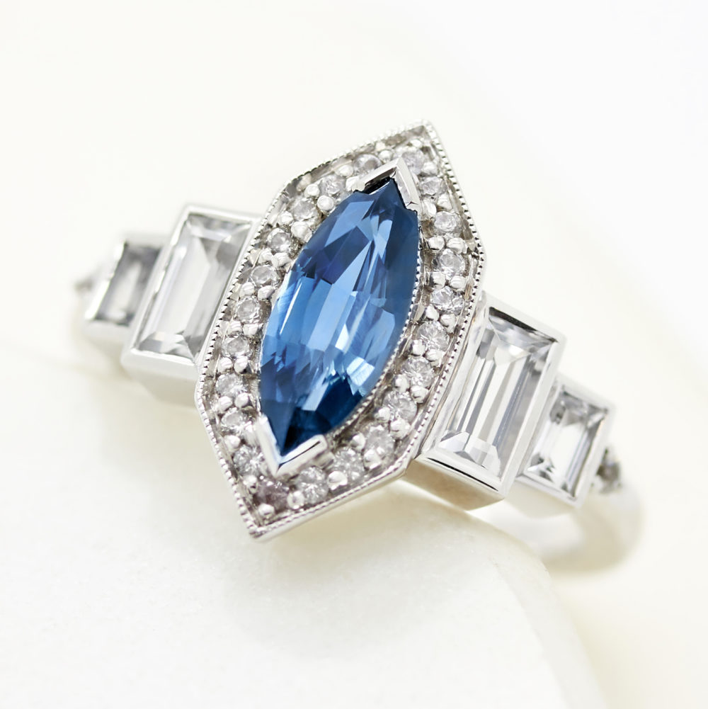 blue sapphire marquise cut sapphire engagement ring