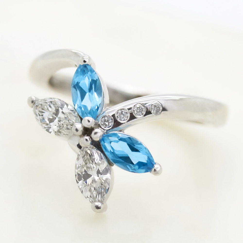 cluster marquise ring blue sapphire and diamond