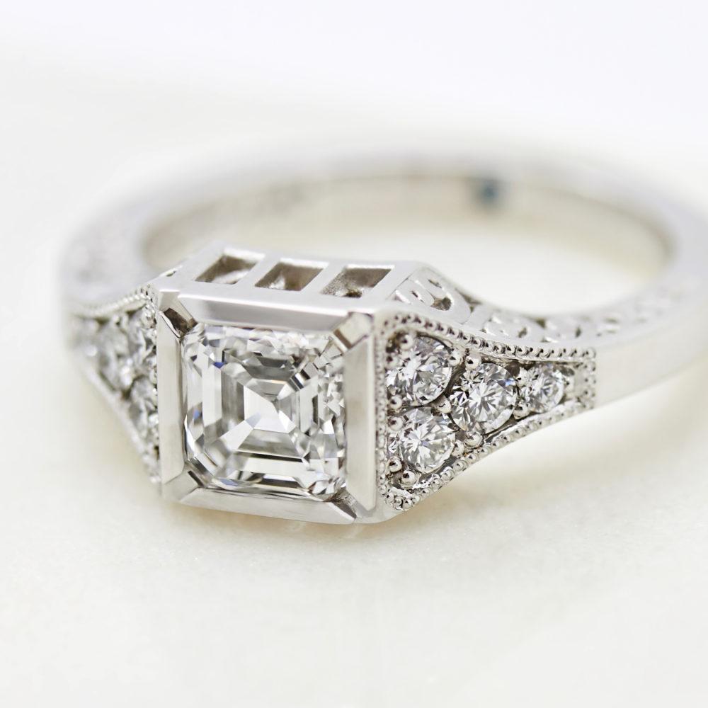 structural asscher cut diamond engagement ring