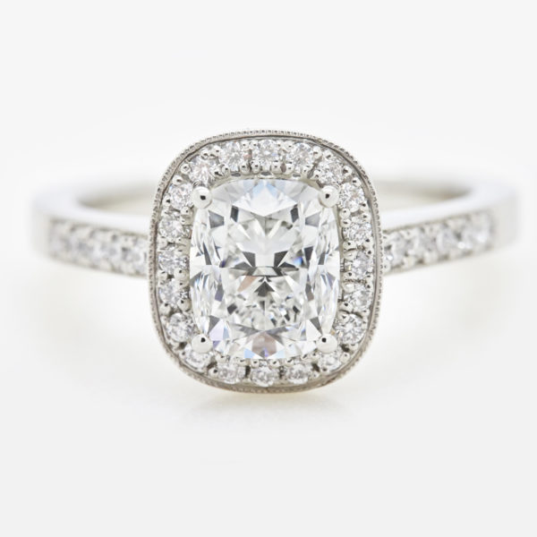 elongated cushion cut diamond halo with milgrain