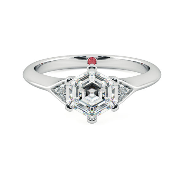 white gold gossamer hexagonal diamond engagement ring taylor and hart