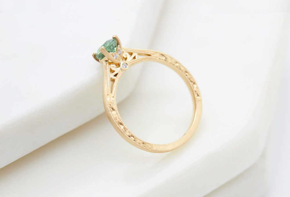 Customer Love Story, Engagement Ring, Sapphire, Green Sapphire, Milgrain, Yellow Gold