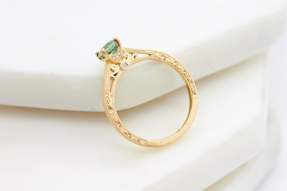 Taylor & Hart, Customer Love Story, Happy Customers, Sapphire, Yellow Gold, Engagement ring, Green Sapphire