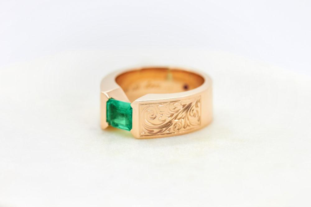 bespoke ring, rose gold, emeralds