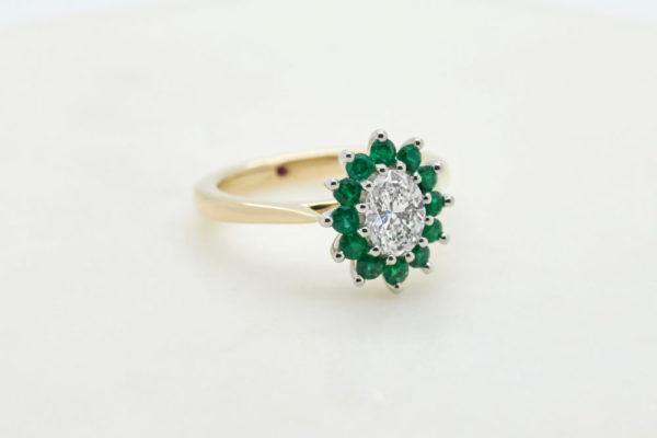Yellow gold oval diamond emerald halo engagement ring