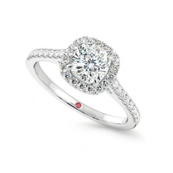 allure cushion platinum diamond engagement ring pave