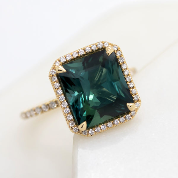 square dark teal sapphire pave diamond yellow gold engagement ring