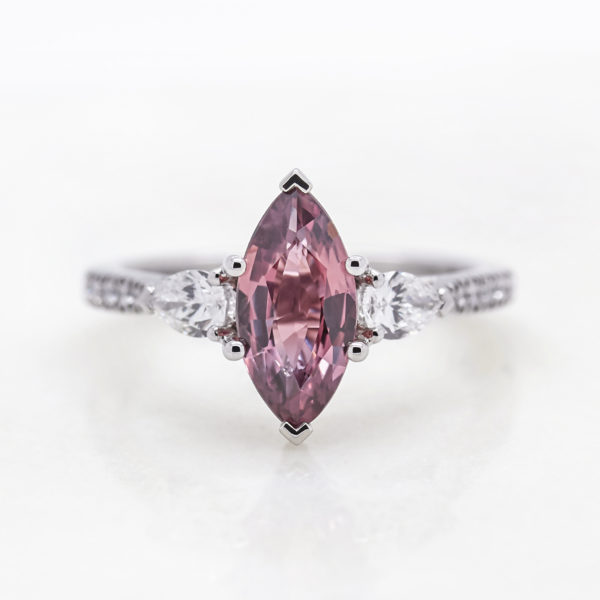 Taylor and hart marquise pink sapphire white gold micro pave side oval diamond