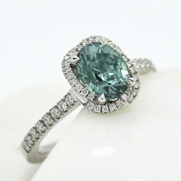 Taylor and hart oval teal sapphire diamond halo white gold pave