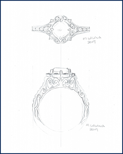 organic engraved engagement ring sketch
